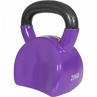 Ergonomische kettlebell in gietijzer met 20kg vinyl gevelbeplating