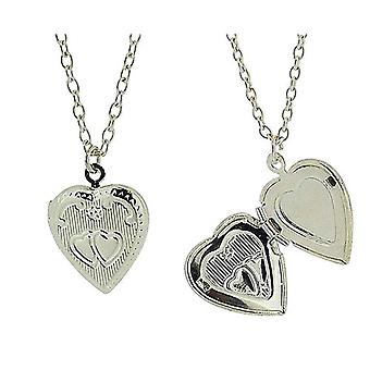 Silvertone Engraved Heart Locket Pendant on 18