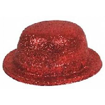 Brillo Bowler Hat rojo