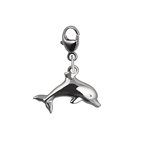Silver 9x19mm leaping dolphin Charm on a lobster trigger