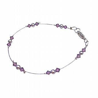 Modische erschwingliche lila Lila Perlen Amethyst Kristall Armband