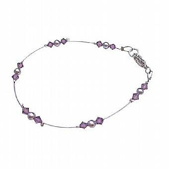 Fashionable Affordable Mauve Purple Pearls Amethyst Crystals Bracelet
