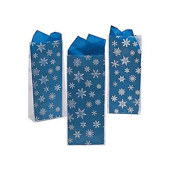 12 Snowflake Printed White Cellophane Christmas Party Bags | Gift Wrap Supplies