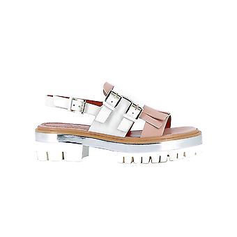 Santoni White/pink Leather Sandals