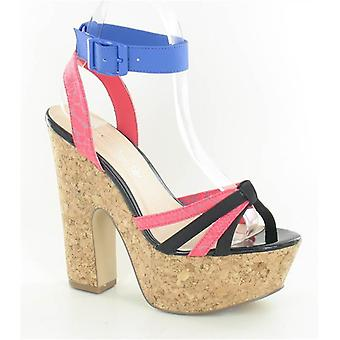 Spot On High Cork Platform Ankle Strap Sandal F10123