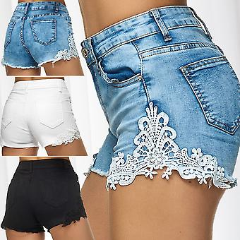 Womens Jeans Shorts High Waist Denim Hot Pants with Lace Stretch Skinny Trousers