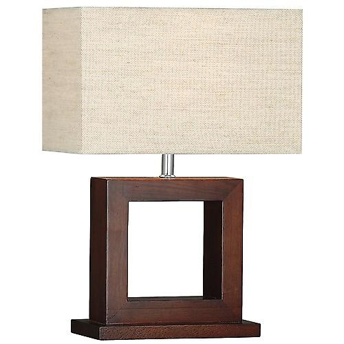 Searchlight 9000 Cosmopolitan Dark Wood Square Table Lamp Complete With Shade