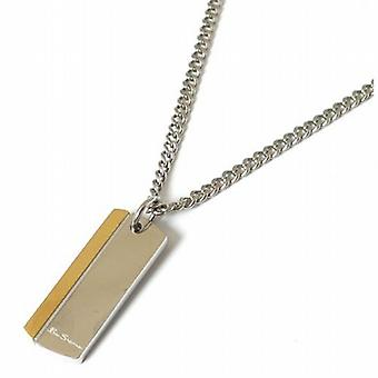 Ben Sherman Gents Silvertone & Goldtone Metal Dog Tag Pendant On 18