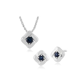 925 Sterling Silver Sapphire Square Crossover Stud Earring & 45cm Necklace Set