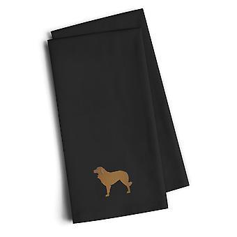 Portuguese Sheepdog Dog Black Embroidered Kitchen Towel Set of 2