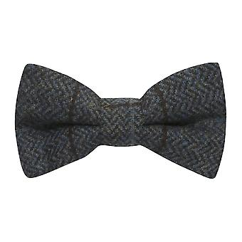 Luxury Aegean Blue Herringbone Check Bow Tie, Tweed