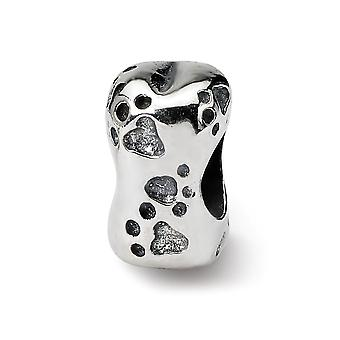 925 Sterling Silver Polished Antique finish Reflections SimStars Dog Bone Bead Charm