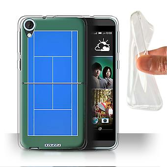 STUFF4 Gel/TPU Case/Cover for HTC Desire 820G+ Dual/Blue Hard Court/Tennis Courts
