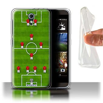 STUFF4 Gel/TPU Case/Cover for HTC Desire 820 Mini/4-1-2-1-2/Red/Football Formation