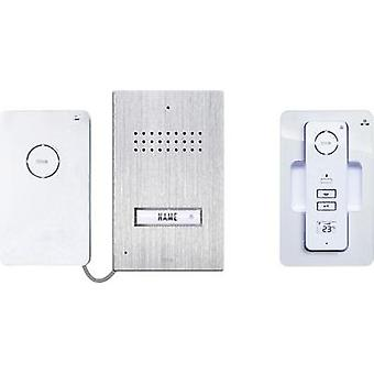 Door intercom Radio Complete kit m-e modern-electronics AC-110 Detached Stainless steel, White
