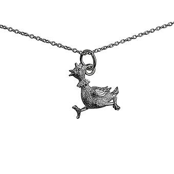 Silver 17x15mm Hen Pendant with a rolo Chain 14 inches Only Suitable for Children