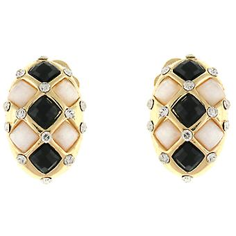 Clip On Earrings Store Black and Ivory Faceted Stone Oval Clip On Earrings