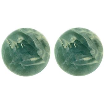 Clip On Earrings Store Classic Jade Green Round Marble Effect Clip On Earrings