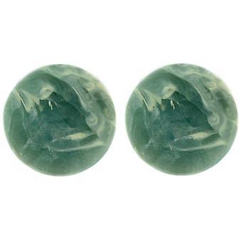 Clip auf Ohrringe Shop klassische Jade grün Runde Marmor-Effekt-Clip auf Ohrringe