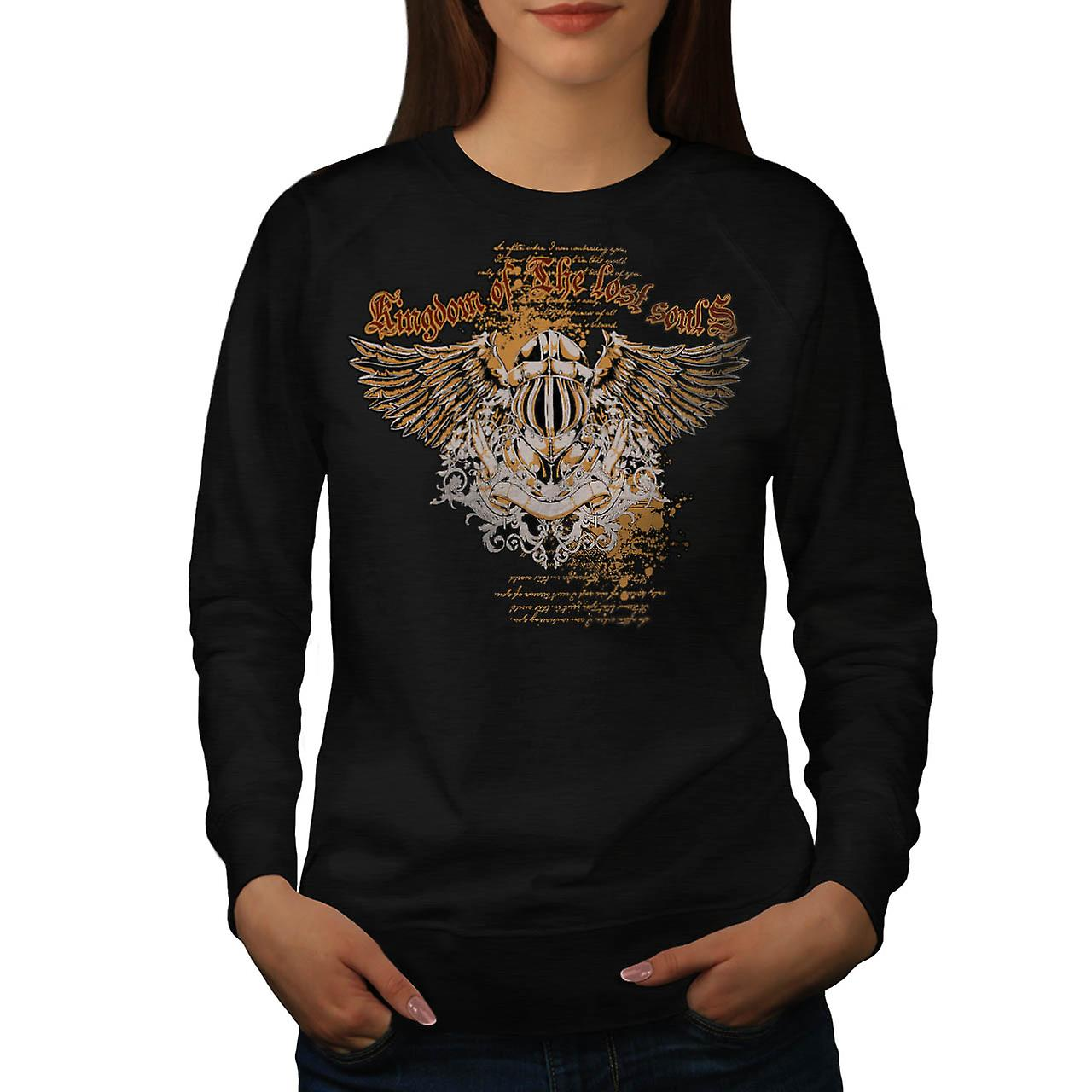 Kingdom Of Lost Souls Angel Wing Women Black Sweatshirt | Wellcoda