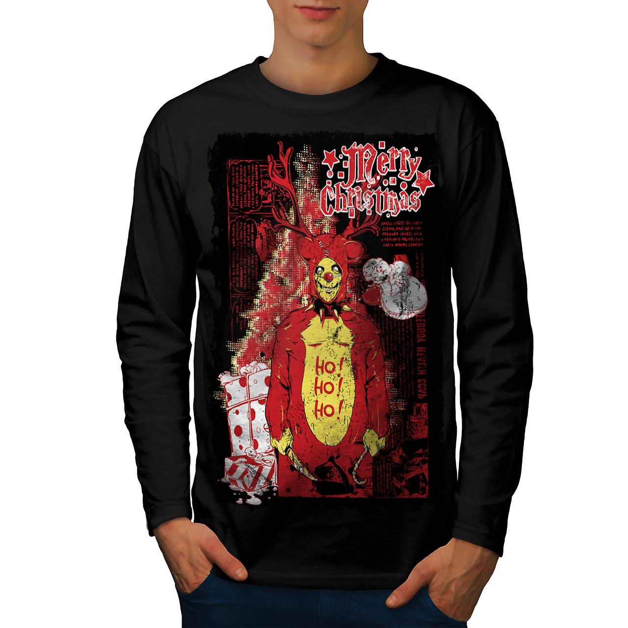 Evil Merry Christmas Reindeer Men Black Long Sleeve T-shirt | Wellcoda