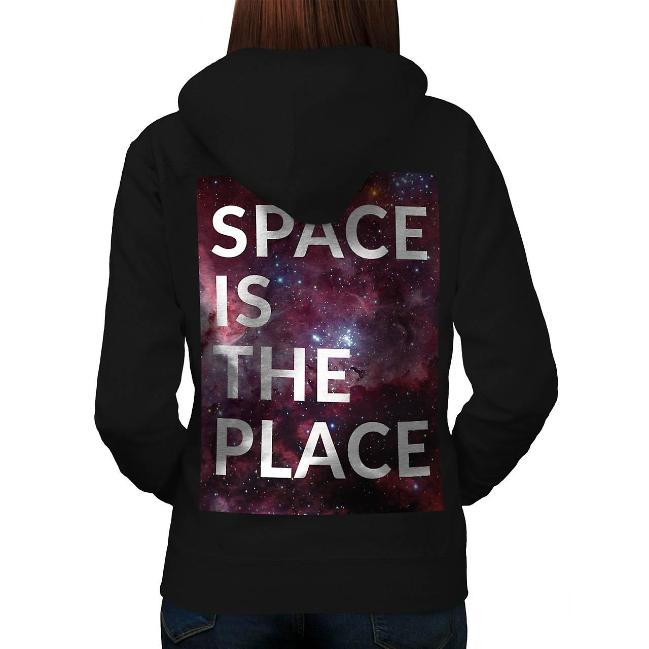 Space Is The Place Fun Big Planet Women Black Hoodie Back | Wellcoda