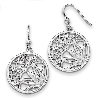 Sterling Silver Rhodium-plated Cubic Zirconia Round Dangle Earrings