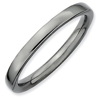 Sterling Silver Stackable Expressions Black-plated Polished Ring - Ring Size: 5 to 10