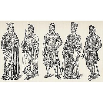 Costumes Of The Thirteenth Century Spanish Kings And Nobles From The Book Spain A Summary Of Spanish History From The Moorish Conquest To The Fall Of Granada 711 To 1492 By Henry Edward Watts Publishe