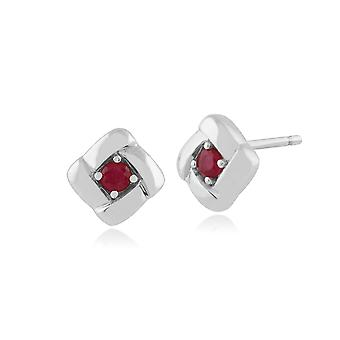 Gemondo 925 argent Sterling 0,16 ct Ruby Square Crossover Stud boucles d'oreilles