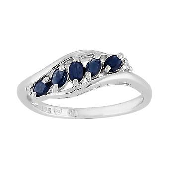 Кольцо стерлингового серебра 0.43ct натуральный Сапфир & алмаз современные пять камень