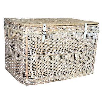 Large White Wash Finish Storage Wicker Basket
