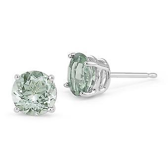 Green Amethyst Stud Earrings, 14K White Gold