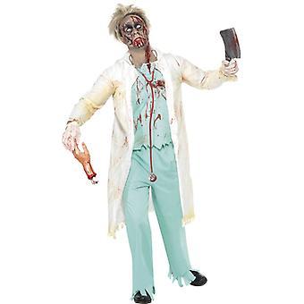 Zombiekostüm Doktor Grün mit Jacke integriertem Oberteil Hose und Handschuhe Gr. M