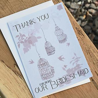 Thank You For Being My Bridesmaid Vintage Birdcage Wedding Card & Envelope