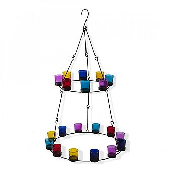 Boutique Camping 2 Tier Chandelier - Multi Coloured Glass