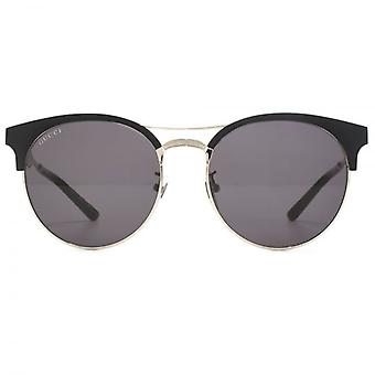Gucci Metal Clubmaster Style Sunglasses In Black