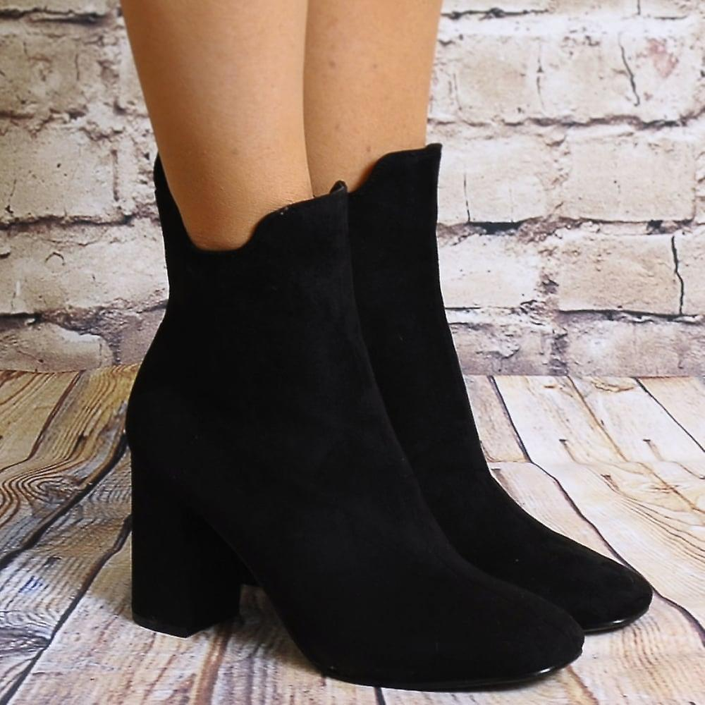schuh schrank schwarze ankle boots damen td16 faux wildleder high heels stiefeletten fruugo. Black Bedroom Furniture Sets. Home Design Ideas