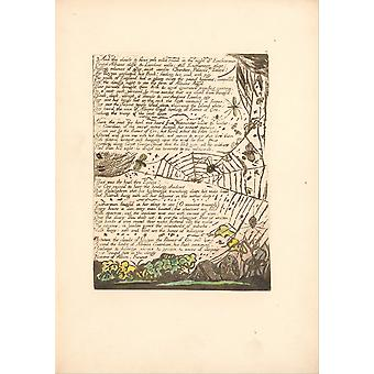 William Blake - And the clouds & fires Poster Print Giclee