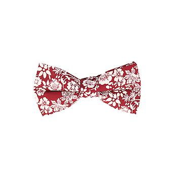 Snobbop-bound fly red white floral loop cotton bow tie