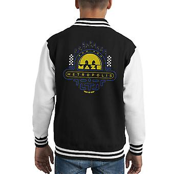 Maze Pac Man Metropolis Nom Nom Kid's Varsity Jacket