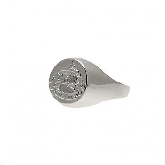 Sunderland crista chapeados prata anel pequeno