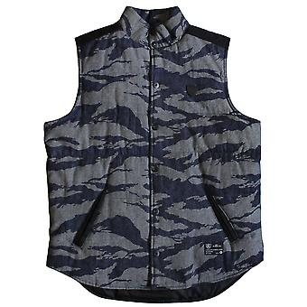 Crooks & Castles Snap Up Denim Vest Tiger Black