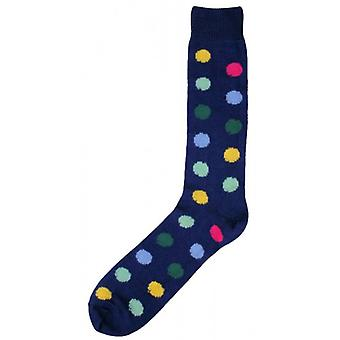 Bassin und Brown Spotted Midcalf Socken - Marine/Multi-colour