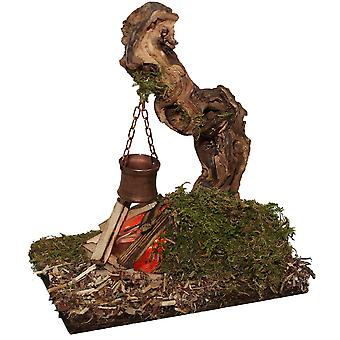 Camp fire fireplace flickering light with boiler to natural root nursery accessories for Nativity scene Christmas crib