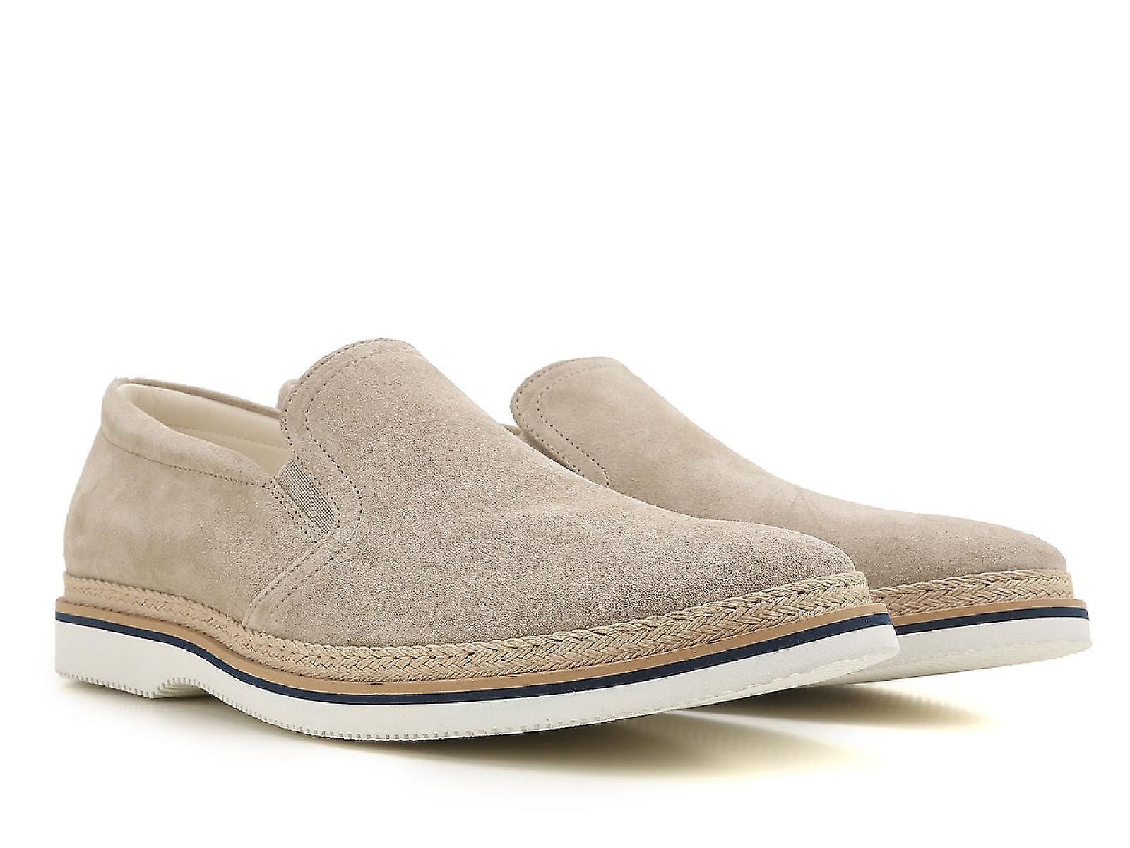 Hogan Männer Slipper Loafer Schuhe in Beige Wildleder