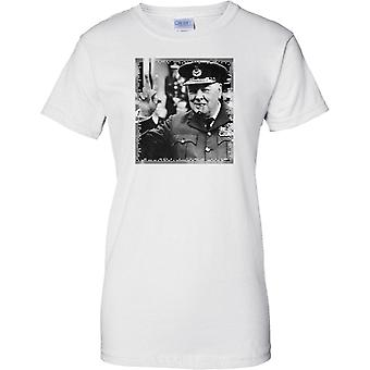 Winston Churchill V Salute - British War Time PM - Ladies T Shirt