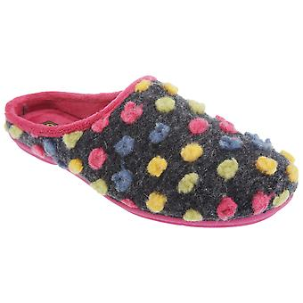 Sleepers Womens/Ladies Amy Spotted Knit Mule Slippers