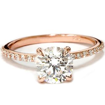 Oro rosa 1 3 / 4ct diamante anello di fidanzamento solitario migliorato di 14 carati