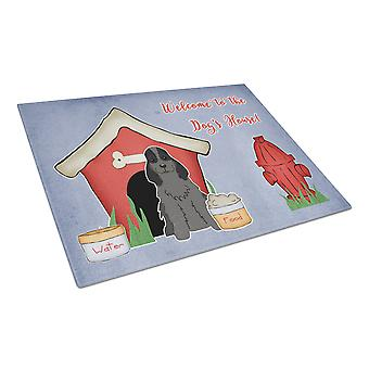 Dog House Collection Cocker Spaniel Black Glass Cutting Board Large